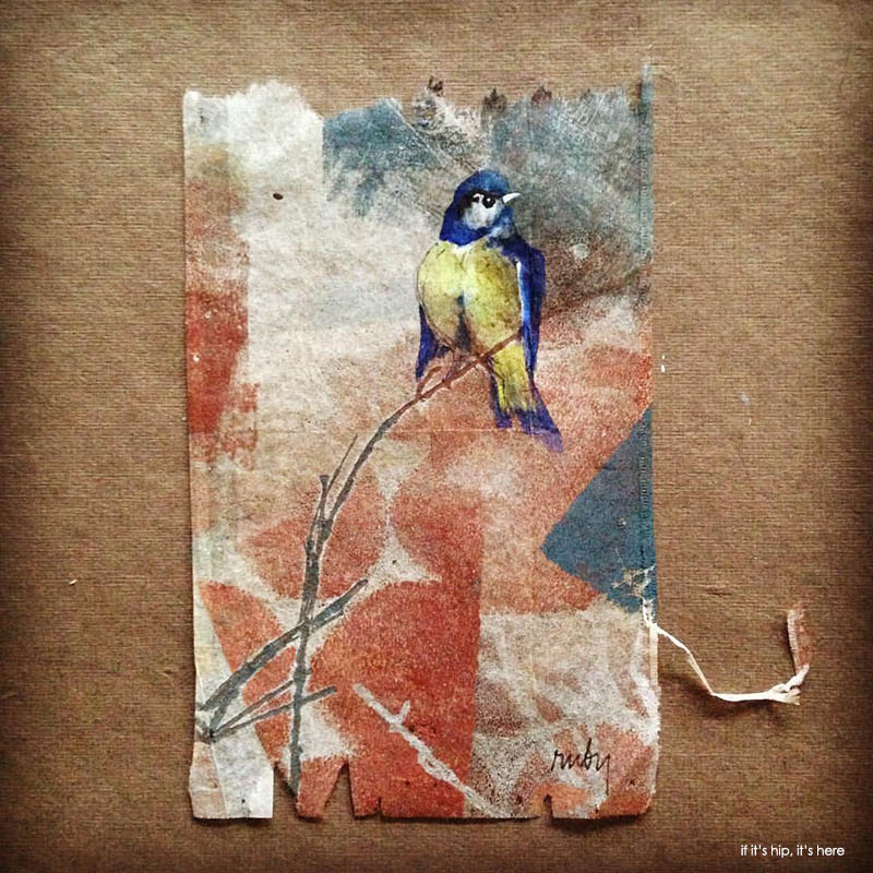 Day 267 bird painted on teabag
