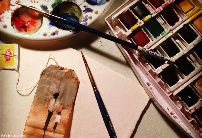 painting on tea bags