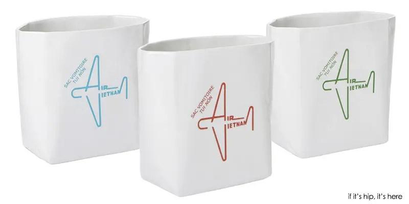 Air Vietnam barf bag vases