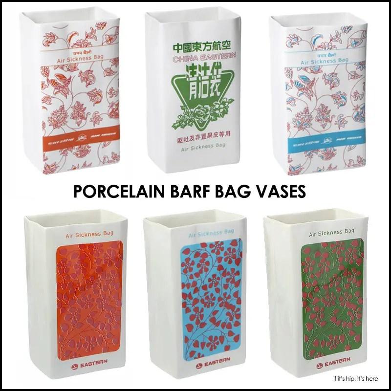 Porcelain barf bag vases