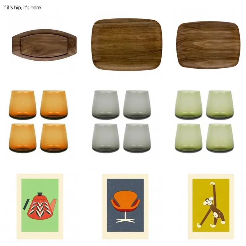 Wood Trays, Glass Tumblers And Art Prints