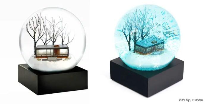 philip johnson glasshouse snow globes reg and blue edition
