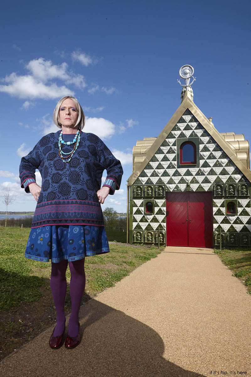 Grayson Perry as fictional character Julie Cope outside his A House For Essex