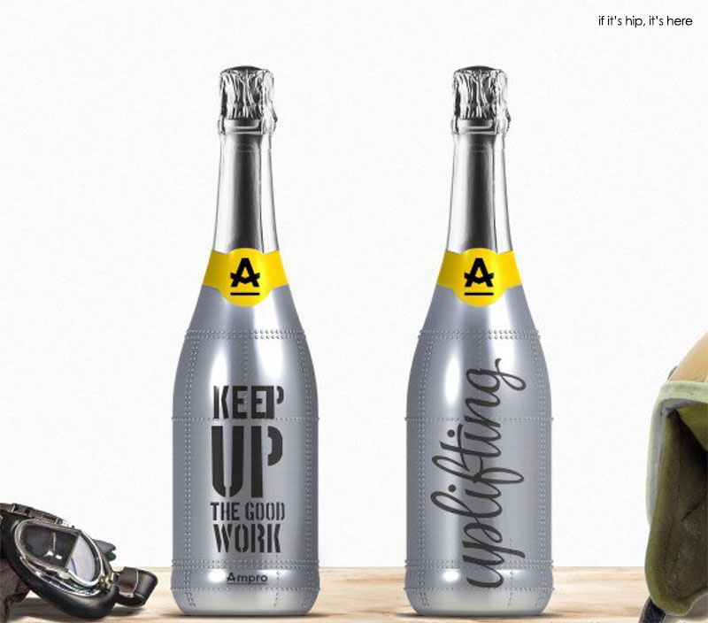 Champagne A, bottles with metal and rivets by Ampro Design