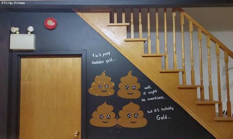Cute poop wall art on the walls of the Poop Café