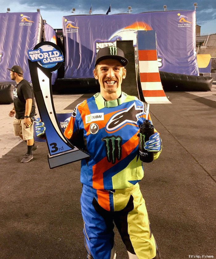 Josh Sheehan with his 3rd place trophy for FMX Best Trick