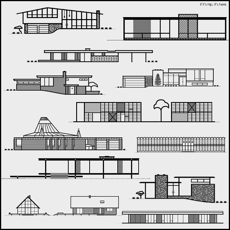 Mid Century Modern Homes As Line Art Letterpress by Michael ...