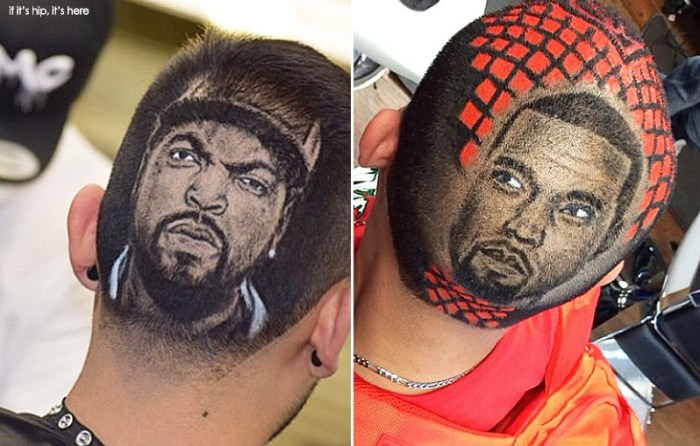 Ice Cube and Kanye hair cuts