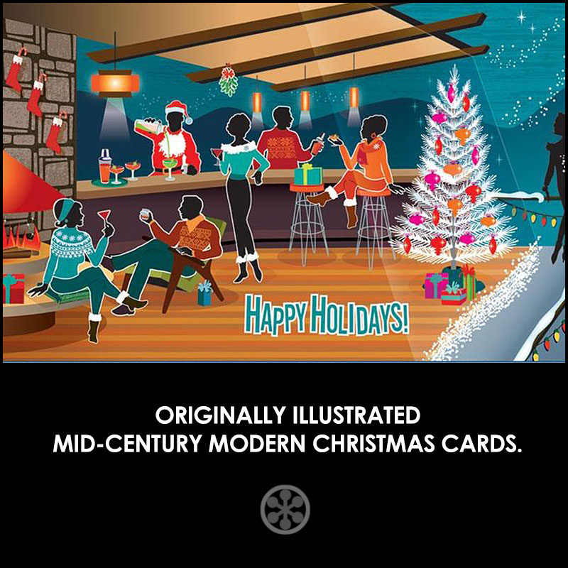 retro christmas cards for mcm design lovers at