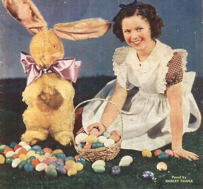 Shirley Temple with Bunny and Easter basket