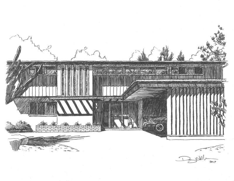 mid-century modern architecture drawings