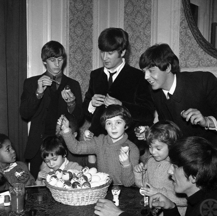 The Beatles dying Easter Eggs, 1964 London, England, UK Image by © AP/Corbis