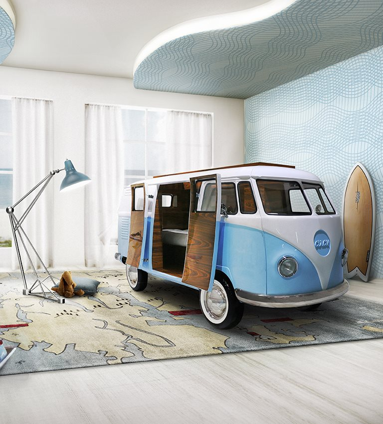 ... as the icon for freedom youth and adventure children may know it better as u201cFillmore the 1960u0027s hippie busu201d from the Disney u201cCarsu201d movie franchise. & Limited Edition Retro VW Bus Bed for Kids in Blue or Pink