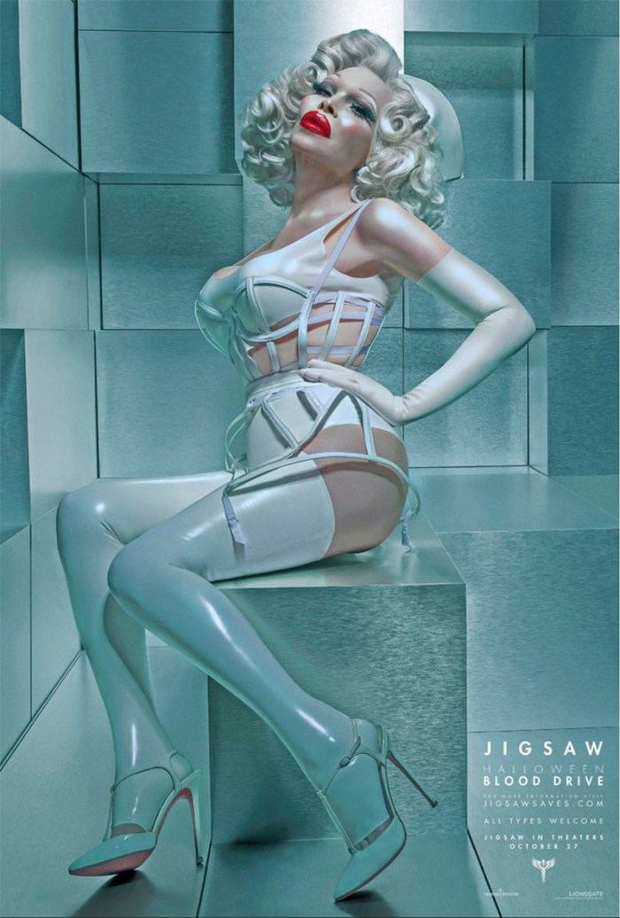 Amanda Lepore in one of the Jigsaw Halloween Blood Drive posters