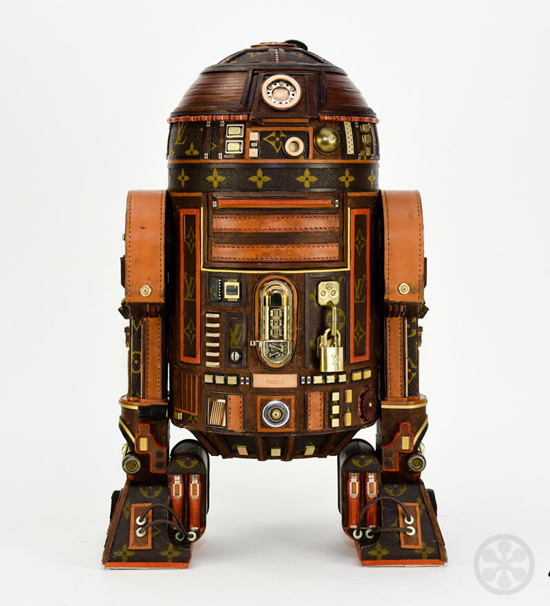 This upcycled R2D2 was inspired modeled after the iconic Luxury Brand Louis  Vuitton and was created using a vintage piece of Louis Vuitton luggage  including ... cc117d53dd2