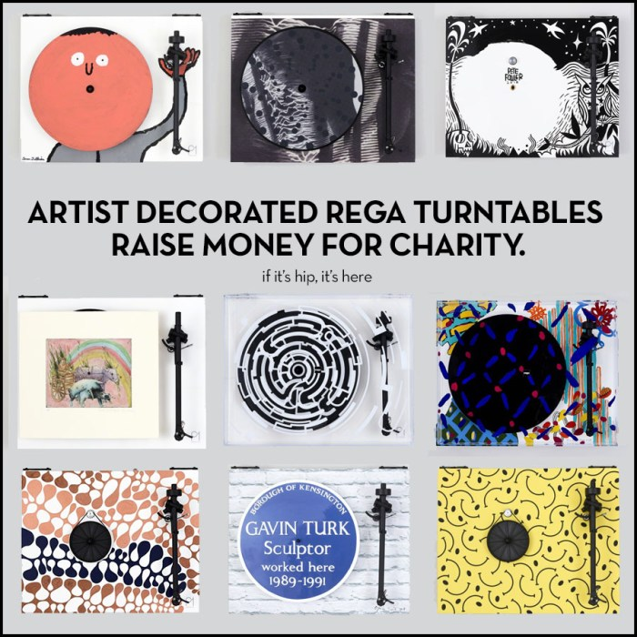 artists decorate Rega Turntables for charity