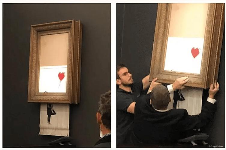 Watch Banksy's Painting self-destruct