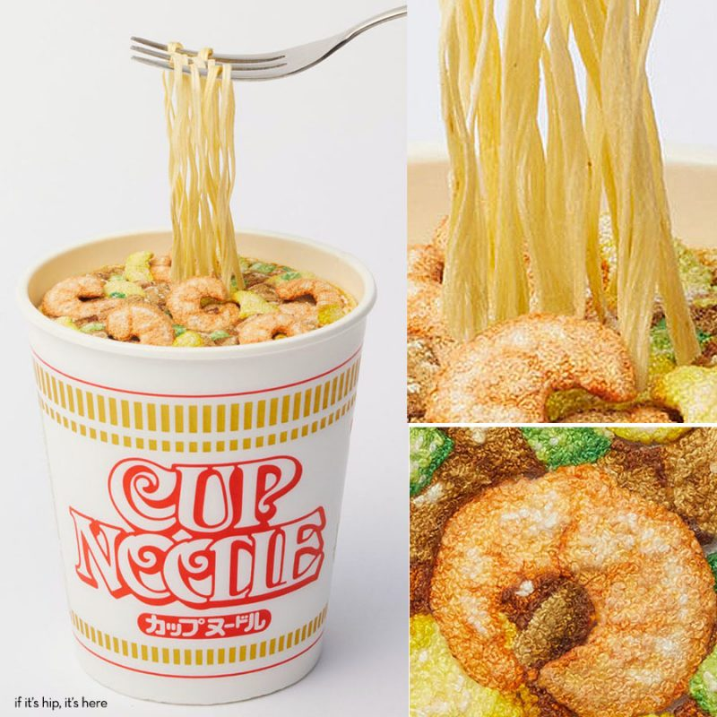 embroidered cup a noodles