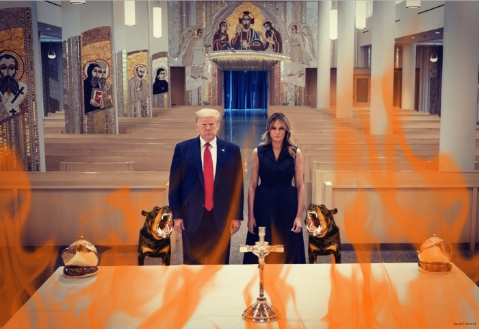 The President and First Lady's Press Photo in Church