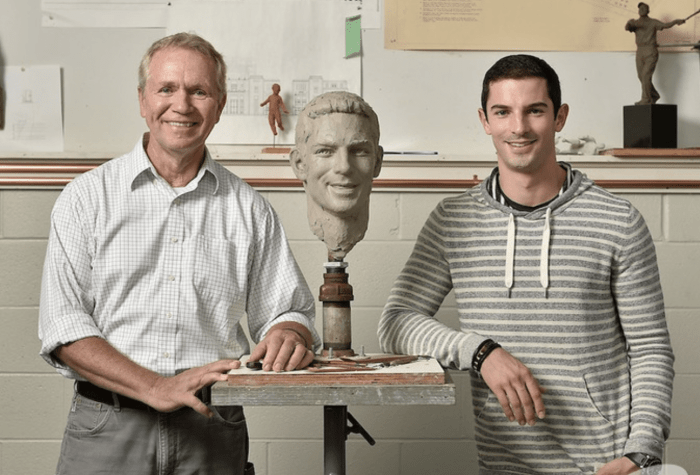 2016 Indianapolis 500 winner Alexander Rossi visited sculptor Will Behrends in Tryon, NC to begin the process of creating Rossi's image for the Borg-Warner Trophy