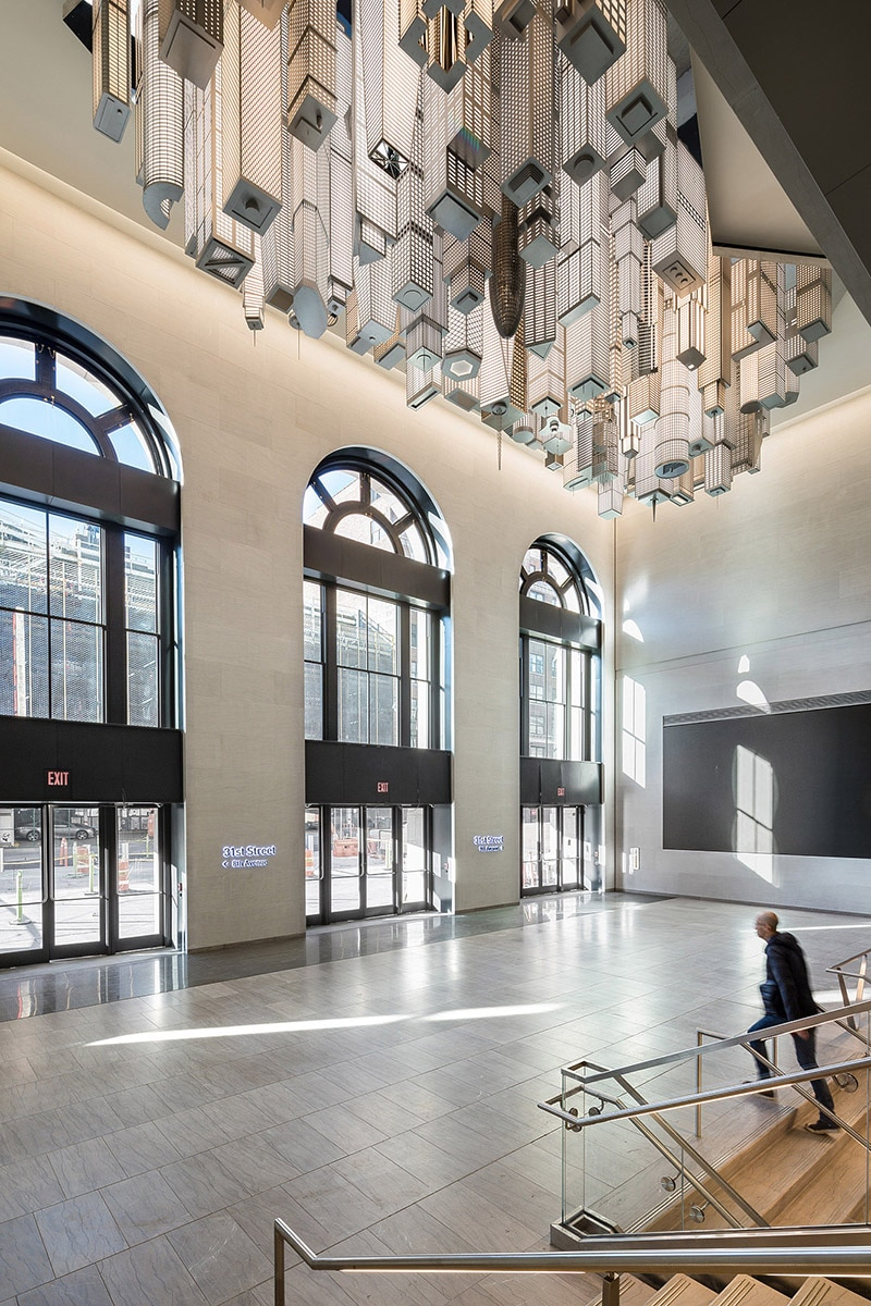 The Hive at Moynihan Train Hall's 31st Street entrance