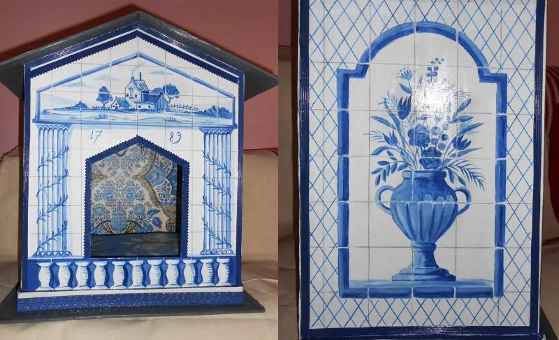 mimi de biarritz cardboard cat house blue white 1
