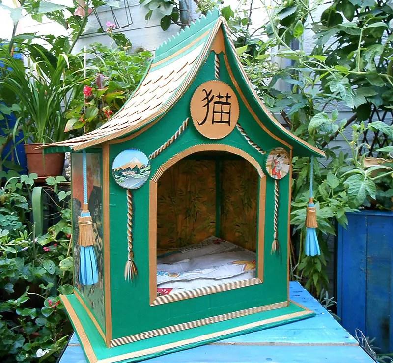 pagoda with koi hokusai cat house
