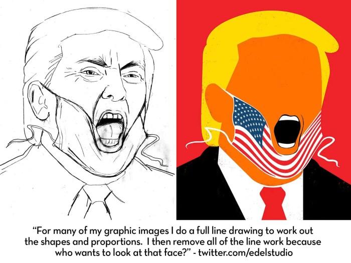 sketch and final trump by edel IIHIH