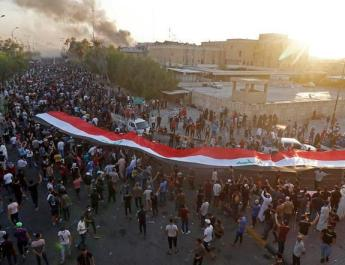 ifmat - Protesters chant anti-Iran slogans in front of consulate in Basra