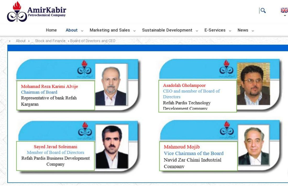 ifmat - AmirKabir Board of Directors and CEO