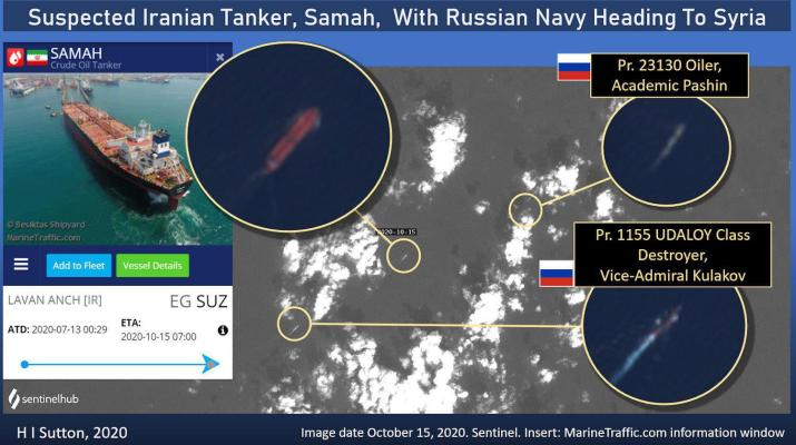 ifmat - Russian navy seen escorting Iranian tankers bound for Syria