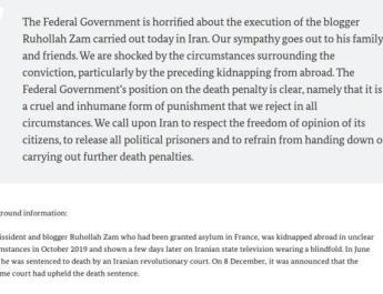 ifmat - The Federal Government is horrified about the execution of the blogger Ruhollah Zam