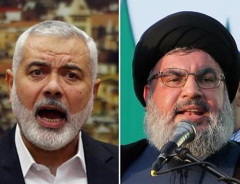ifmat - Hezbollah Nasrallah hosts fellow terrorist Leader Hamas Haniyeh