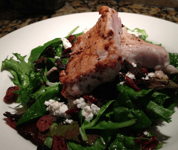 Spring Greens with Roasted Pork Tenerloin