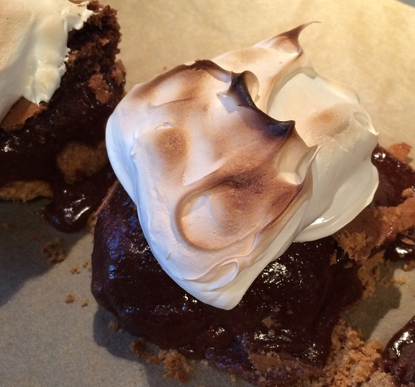 Campfire Brownie Bars with Marshmallow Meringue