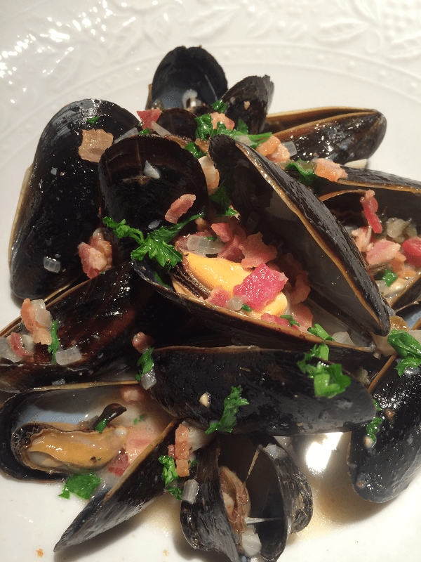 Pan-Roasted Mussels with Bacon, Bourbon and Jalapeno