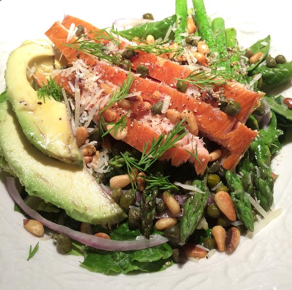 Smoked Salmon, Avocado and Toasted Pine Nut Salad