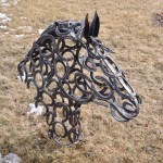 Horseshoe Horse Head Metal Sculpture Carvings I Forge Iron