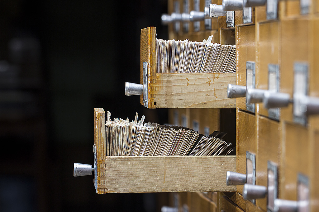 Side view of card catalog for genre index