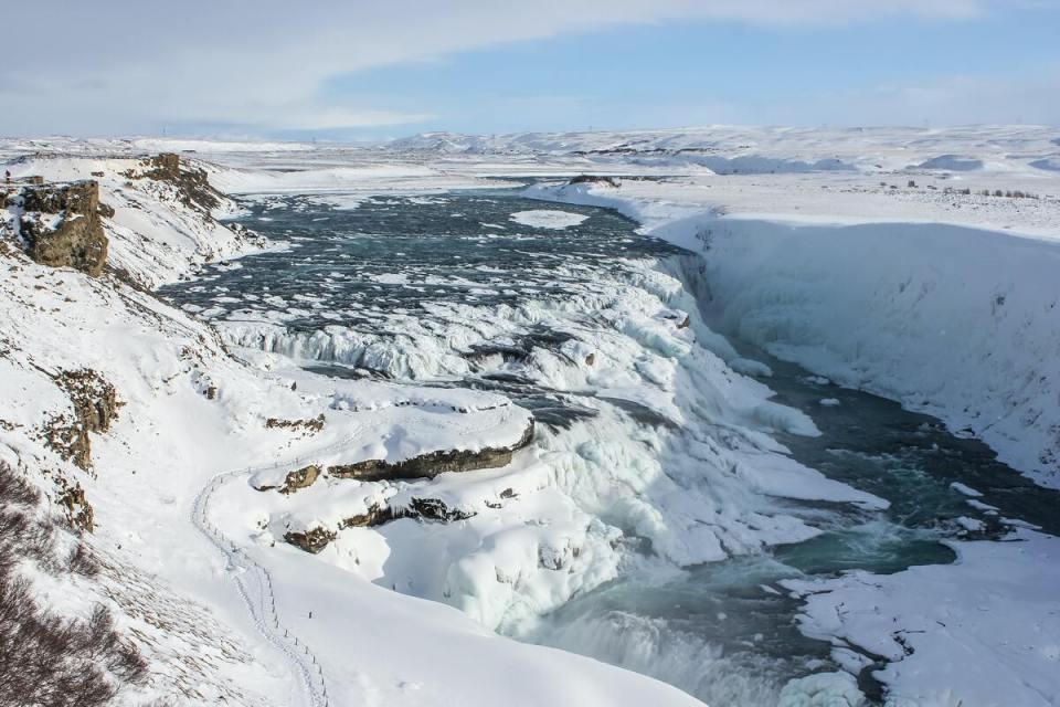 gullfoss islanda cascata in inverno