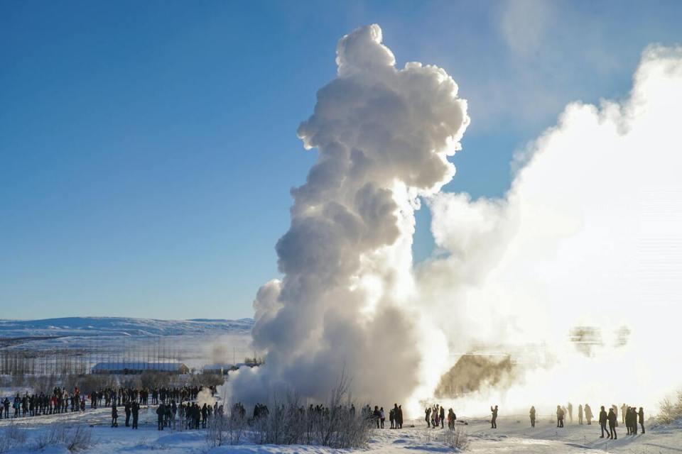 geyser vicino a Reykjavík in islanda
