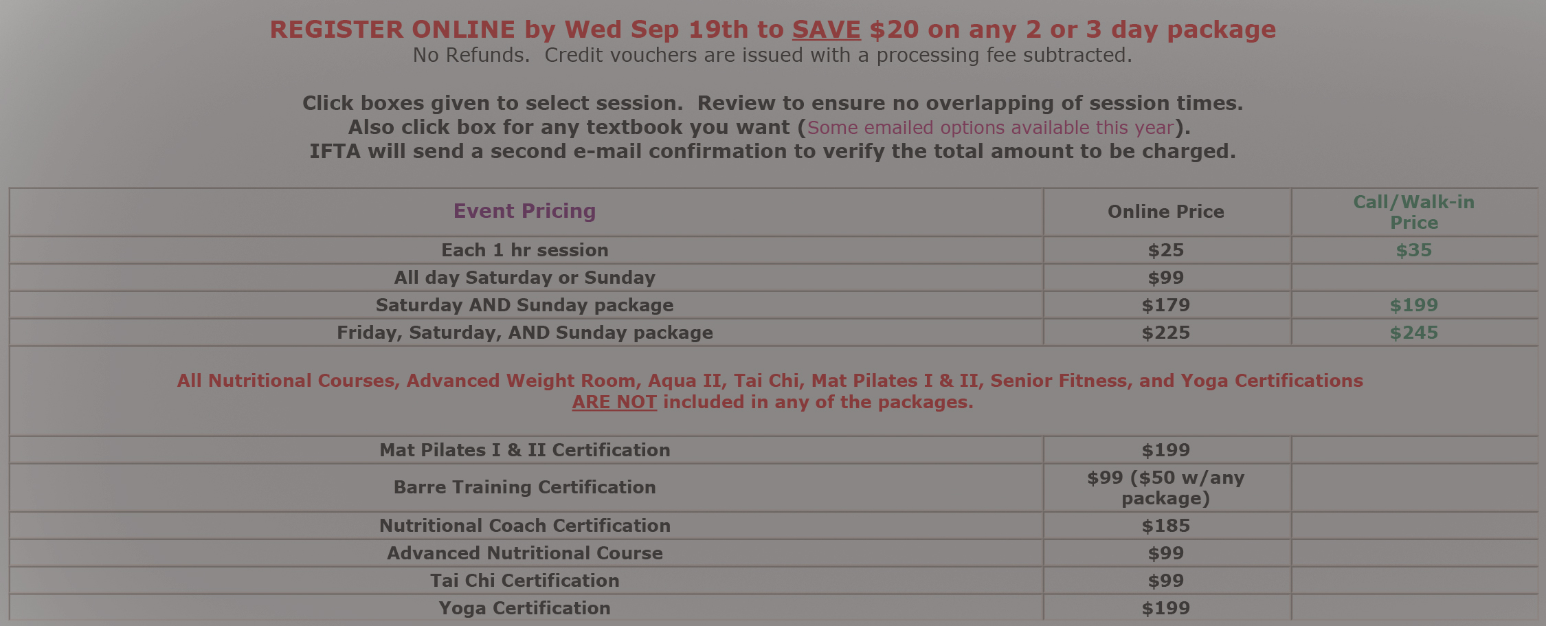 Classic Registration Old Website Version Interactive Fitness