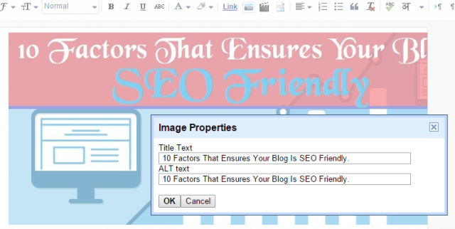 Add Title Tag & ALT Tag for blog post images