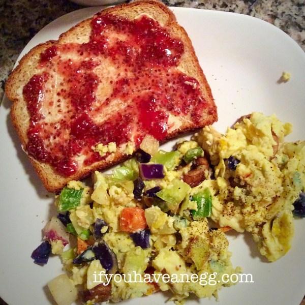 Secret Recipe Scrambled Eggs - Very Veggie version