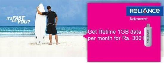 Reliance NetConnect: Now get 1GB data per month for lifetime - 1