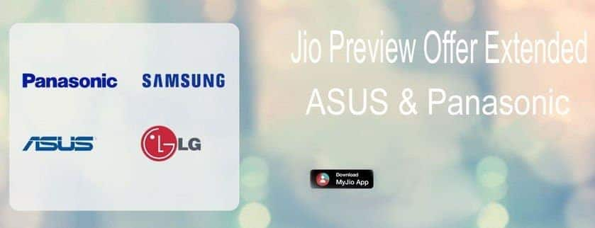 Jio Preview Offer- ASUS and Panasonic