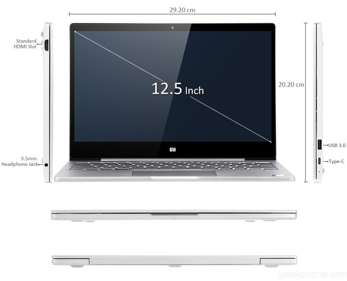 Xiaomi Air 12 laptop dimensions