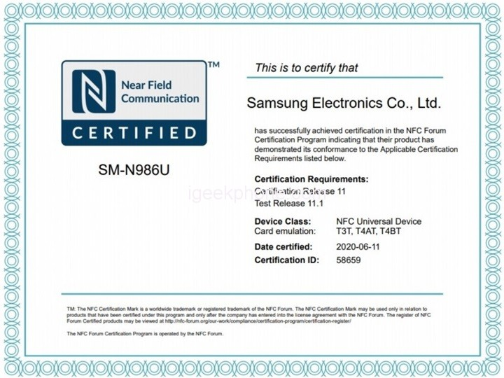 Samsung Galaxy Note 20 Series NFC Certification
