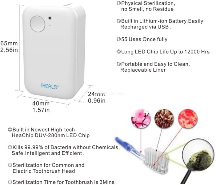 POWEROAK Portable Deep UV Toothbrush Sanitizer Case