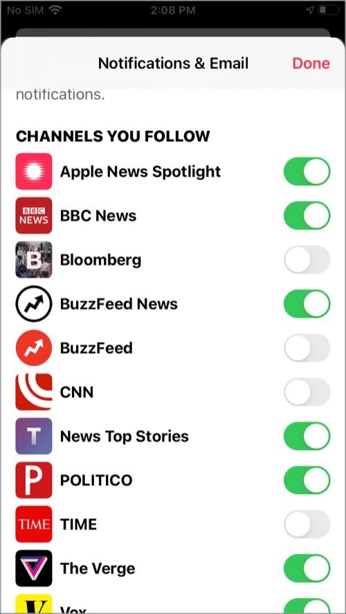 Отключить уведомления Apple News для определенного канала из приложения Новости